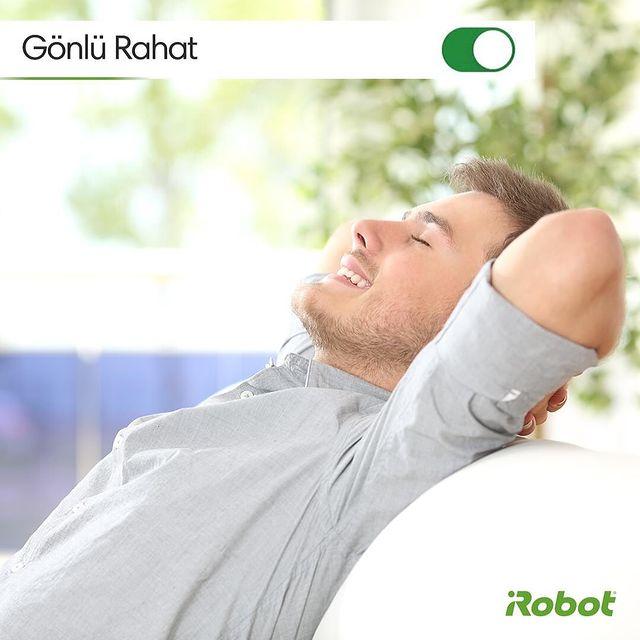 """iRobot'un kaliteli ve profesyonel temizliği sayesinde, """"Gönlü Rahat"""" modunu açabilirsiniz.. 😁🤖💚   #iRobotRoomba #iRobot #RobotSüpürge"""
