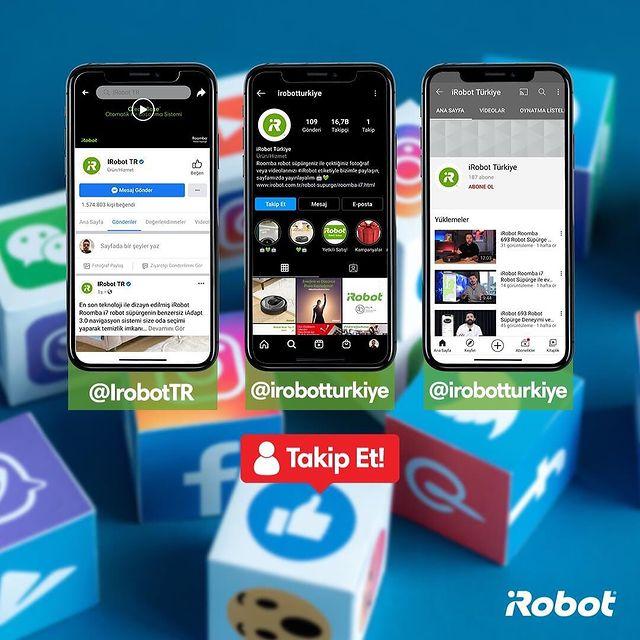 Ürünlerimiz hakkında tüm merak ettiklerinizi kaçırmamak için sosyal medya hesaplarımızı takip etmeyi unutmayın. 🤖🏃🏻♂️  Facebook: iRobot TR Instagram: @irobotturkiye  Youtube: irobotturkiye