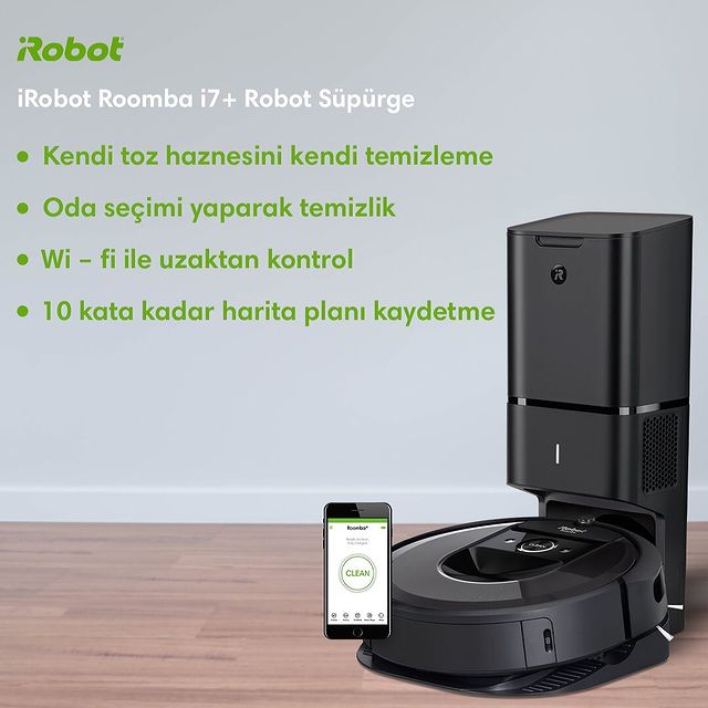 iRobot Roomba i7+ Robot süpürgenin öne çıkan özellikleri;  ✅ Kendi toz haznesini kendi temizleme ✅ Oda seçimi yaparak temizlik ✅ Wi - Fi ile uzaktan kontrol ✅ 10 kata kadar harita planı kaydetme  #Roombai7Plus #iRobot #RobotSüpürge