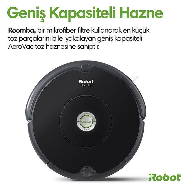 Roomba 606, geniş kapasiteli haznesi ile en küçük toz parçalarını bile yakalar.  #Roomba606 #iRobot #RobotSüpürge