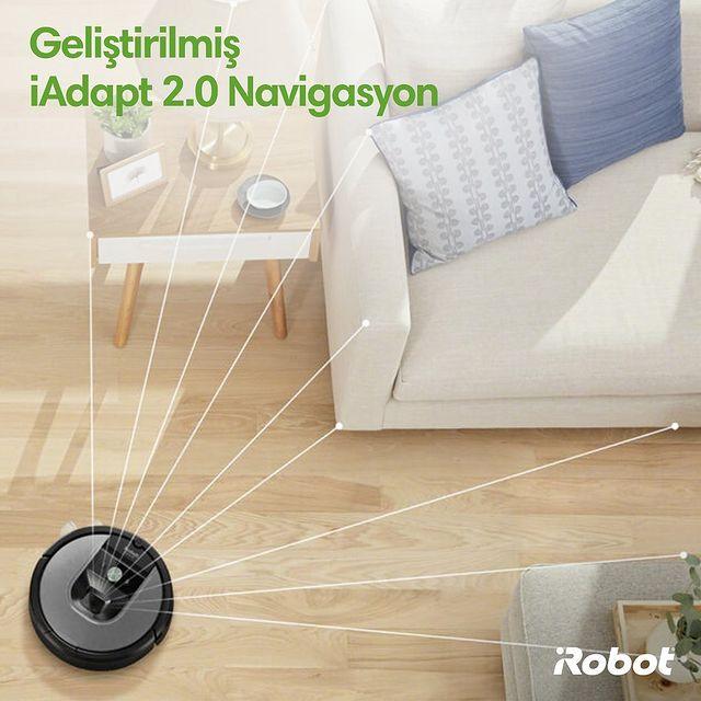 Roomba 975, zemindeki engelleri ve bireysel mobilya parçalarını tanımasını sağlayan özel bir kamera ile donatılmıştır. 💚🔭  #Roomba975 #iRobot #RobotSüpürge
