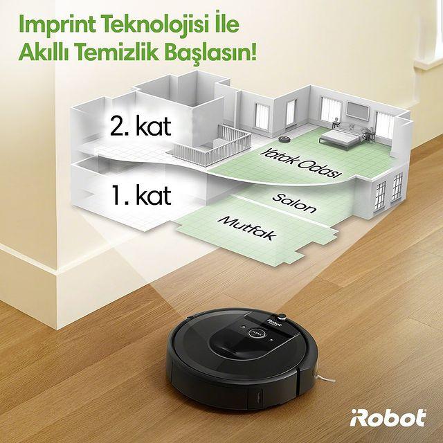 Imprint teknolojisine sahip Roomba i7+, evinizin haritasını çıkartır ve oda seçimi yaparak temizlik imkanı sağlar. 🤖⏱💚  #iRobot #Roombai7Plus #RobotSüpürge