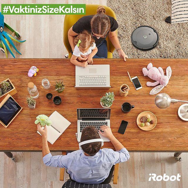 Siz işinize odaklanın. Roomba 693 evinizi tertemiz yapsın. #VaktinizSizeKalsın 👨🏻💻👩🏻💻🤖💚   #Roomba693 #iRobot #RobotSüpürge