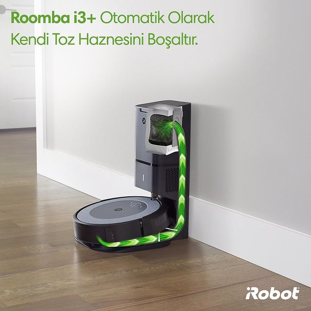 Roomba i3+ akıllı robot süpürge, otomatik olarak kendi toz haznesini boşaltır. 30 toz haznesi kapasitesi ile, 2 ay boyunca süpürme işleminin hiçbir aşamasını düşünmek zorunda kalmazsınız. Vaktiniz size kalır. 🤖😎💚  #iRobot #Roombai3 #Roombai3Plus   #RobotSüpürge #VaktinizSizeKalsın