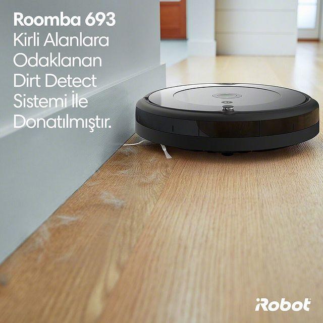 Roomba 693, özellikle kirli olan yerleri tespit etmek için akustik sensörler kullanan Dirt Detect sistemi ile donatılmıştır. 💚🤖  #iRobot #Roomba693 #RobotSüpürge